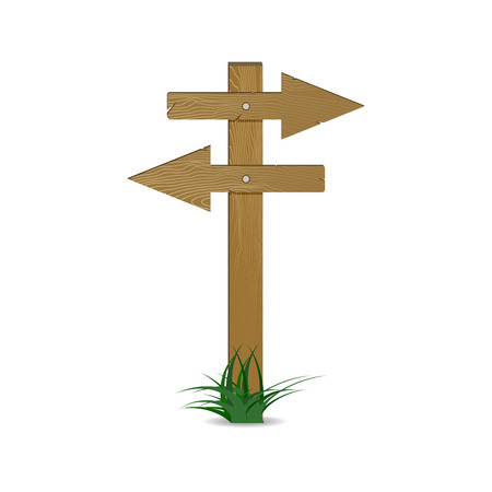 Guidepost and pointing wooden arrows index. Vector pointer road sign form wood timber, left and right directional way illustration. Illustration