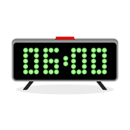 Digital clock alarm 6 a.m. Time clock digital, display modern electronic. Vector illustration.