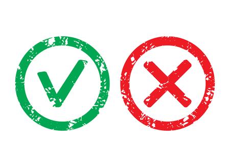 Approved label and rejection rubber stamp. Vector mark approved and rejection, rubber seal grunge imprint illustration.