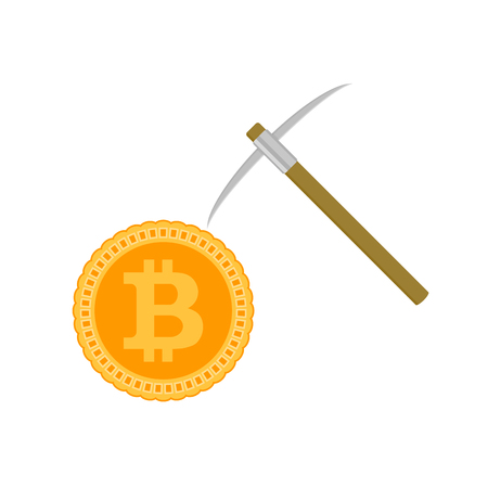 Mining bitcoin concept. Coin and pick vector. Bitcoin currency and money, pickaxe and gold finance coin illustration