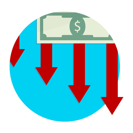 Finance decline and collapse, bankruptcy and devaluation, down economy arrow, vector illustration. Illustration