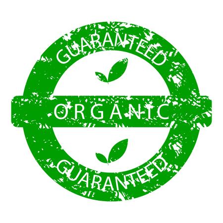 Organic guaranteed rubber stamp green. Natural organic stamp, green guarantee rubber seal label vector illustration. Illustration