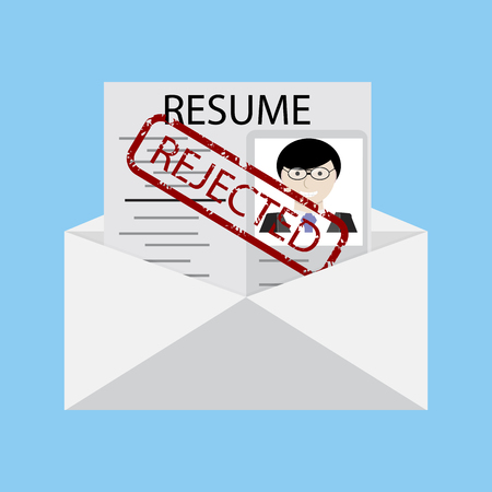 Not recruited. Letter with stamp. Renouncement recruited. Resume with rubber stamp rejected. Vector illustration