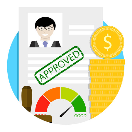 Loan approve emblem. Vector business application badge and label, success approved banking illustration