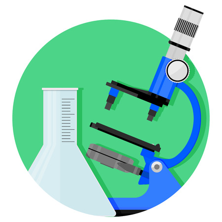 Scientific research icon. Vector chemistry and biology, research experiment illustration Illustration