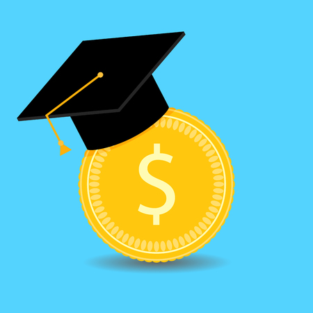 Financial investments in training. Vector graduation university, invest in bachelor, scholarship financial illustration