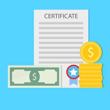Money for education. Investment in graduation, certificate school, university bachelor. Vector illustration