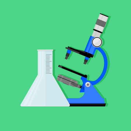 Scientific experiment concept. Vector chemistry and biology research, science experiment illustration