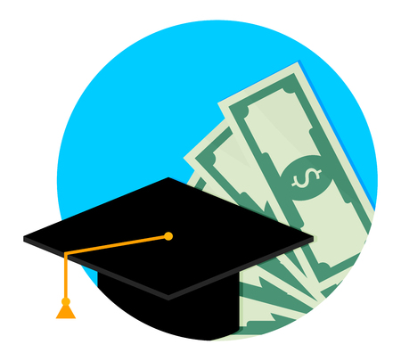 Scholarship or study grant icon flat. Finance money scholarship for college, investment in degree university. Vector illustration
