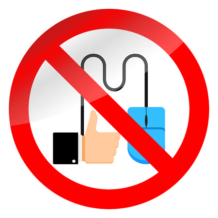 No click like, ban symbol. No thumb up icon, label forbidden illustration.