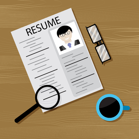 Job search and head hunting. Recruitment and research employee, hiring candidate. Illustration