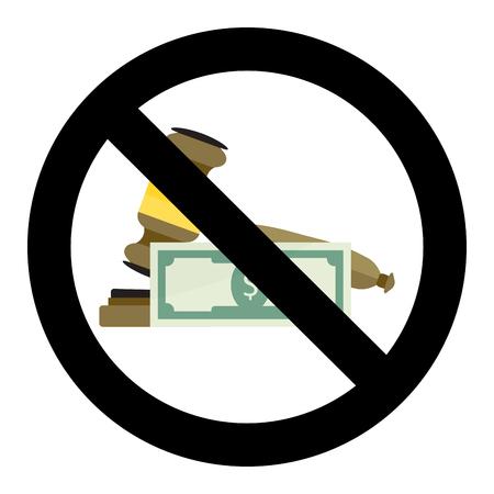 Not Corrupt Court. Ban corrupt, no bribery for verdict, bribe banknote.