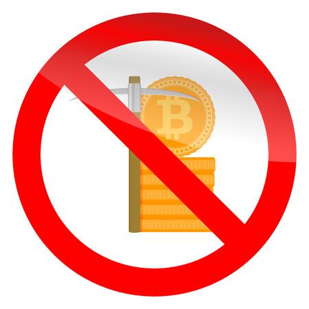 Stop mining icon. Ban mine, forbidden btc, no pickax. Illustration