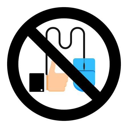 Ban like click in social media vector illustration