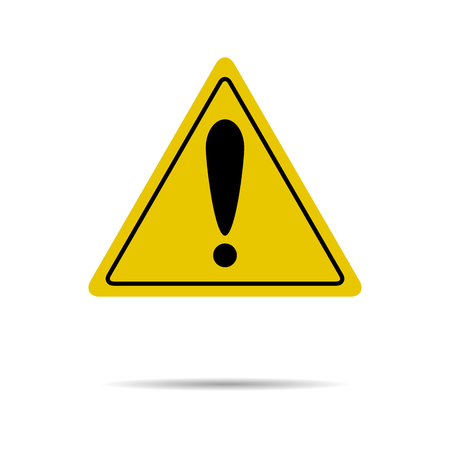 Sign of attention and exclamation in yellow triangle. Attention safety road, risk and caution, alert danger.