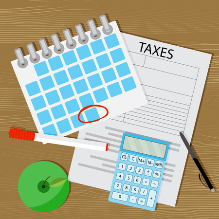 Term of payment of taxes Vector on calendar with a marked day and a calculator illustration Illustration