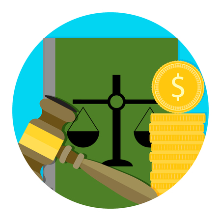 Symbol für die Gebühr für Rechtsberatung. Bestechung für Urteil, Münze für Ordnung. Vektorillustration