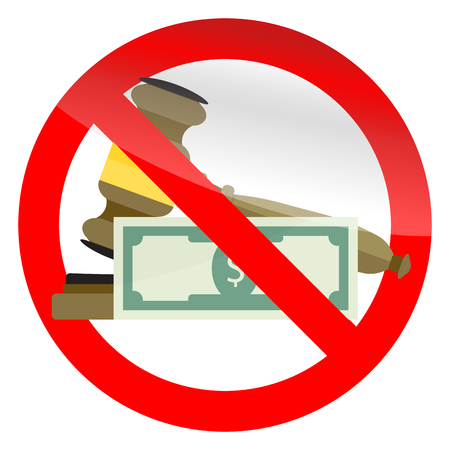 Prohibition of corruption in court symbol. Vector no bribery in legal, illegal verdict and order illutration Illustration