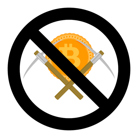 Ban on mining cryptocurrency bitcoin of symbol. Vector ban and prohibited btc and pick-axe, no mining badge illustration
