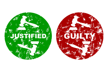 Judicial press rubber stamp guilty and justified. Not guilt grunge insignia, label seal guilty, judicial verdict stamp, vector illustration  イラスト・ベクター素材