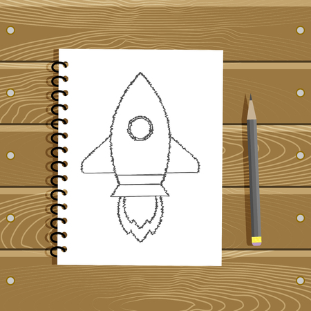 Startup project concept business. Sketch pencil rocket on paper. Vector illustration Illusztráció