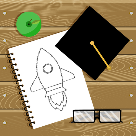 Begin education and start career. Beginning learn in college, graduation and education. Illustration
