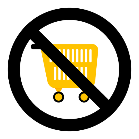 Ban shopping symbol. No pushcart supermarket, trolley and consumer basket for shopping prohibited, vector illustration