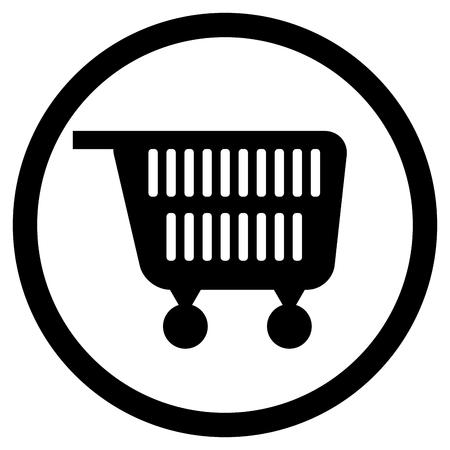 Cart for supermarket icon black white. Consumer shopping cart, pushcart icon. Vector illustration