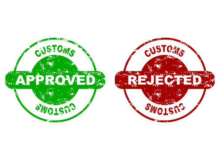 Customs approved and rejected rubber stamp seal. Vector customs made, border inspection, grungy rejected rubber stamp illustration