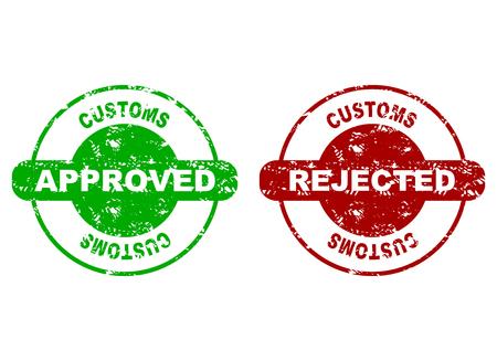 Door de douane goedgekeurd en afgekeurd rubberen zegel. Vector douane gemaakt, grensinspectie, grungy afgewezen rubberen stempel illustratie