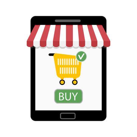 Shop on tablet. Vector store marketing, sale e-commerce illustration