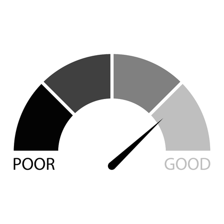 Rating credit indicator black white. Vector financial level, measurement rate finance illustration