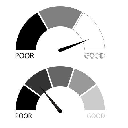 Credit rating scale set. Financial rating level, rate finance for report and credit history. Vector illustration