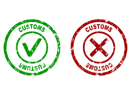 Inspection rubber stamp on customs border. Customs made border, inspection customer imprint, vector illustration  イラスト・ベクター素材