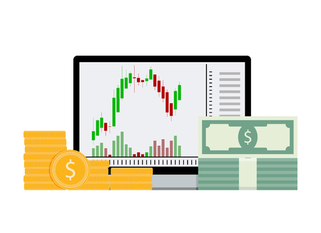 Financial exchange, finance graphic and money. Vector exchange currency, business stock illustration Illustration