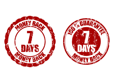 Money back guarantee 7 days. Vector guarantee seven days risk-free, time refund warranty illustration