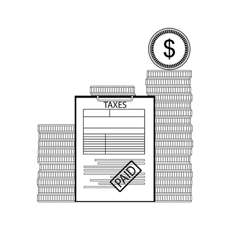 Taxes paid concept. Taxation and banking, finance economy exchange. Vector illustration