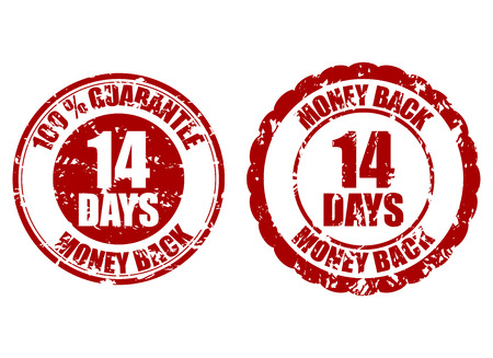 Money back guarantee 14 days rubber stamp. Fourteen days repay, riskfree refund, return money illustration Ilustrace