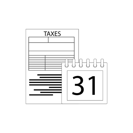 Day for pay tax. Ttime payday, linear government financial tax. Vector illustration