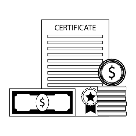 Investment in education. Money and certificate graduation. Vector illustration Vectores
