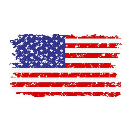 Sello de goma de textura de bandera de Estados Unidos. Bandera grunge usa nacional, textura unida americana. Ilustración vectorial