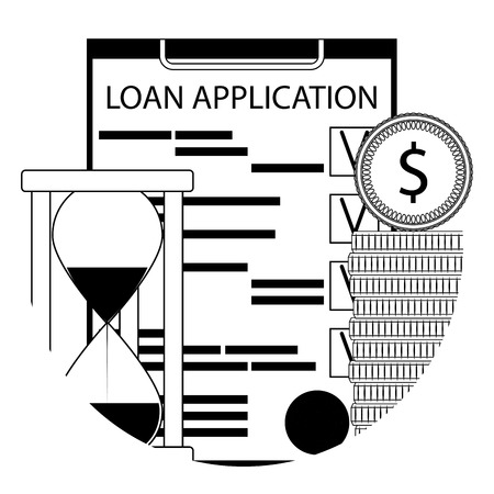 Financial service of a loan line icon app. Loan application form and money. Vector illustration
