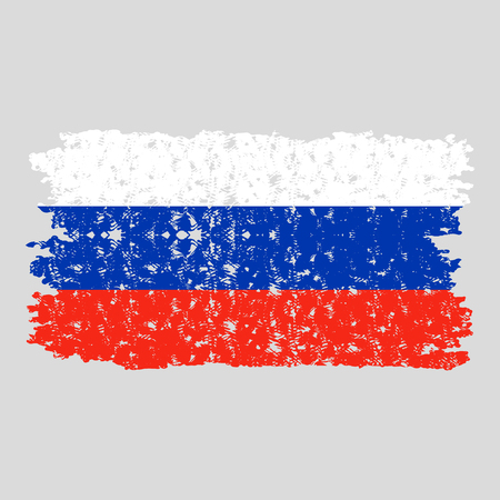 Russia flag texture. Rusty russia flag national, symbol of country russian federation, patriotism nation vector illustration