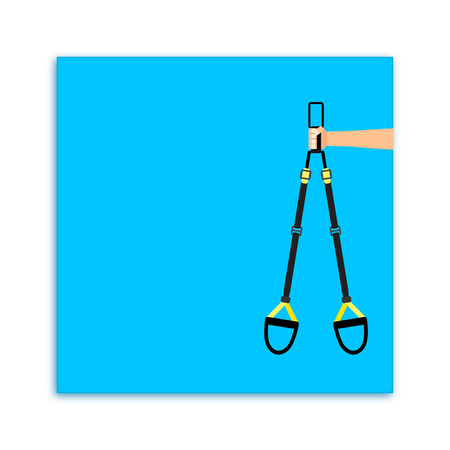 Sport business card for fitness personal training. Sporty trx hanging, athletic and gymnastic. Vector illustration