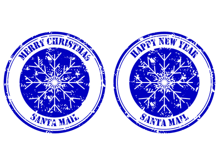 Santa mail rubber stamp, happy new year and merry christmas. Stamp mail grunge, xmas postage, new year