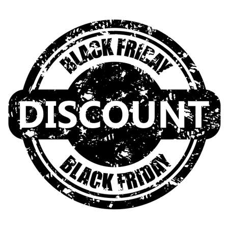 Discount black friday round print. Annually black friday stamp for shopping. Vector illustration