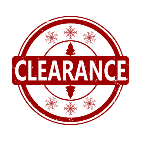 Clearance rubber stamp for winter holiday. Vector winter retail rubber stamp, clearance holiday offer illustration
