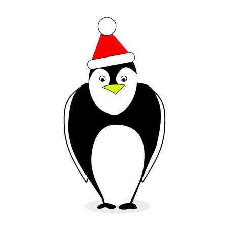 Penguin in red hat santa claus isolated on white. Vector penguin holiday, winter bird illustration