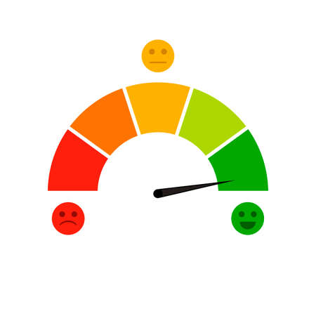 Credit score indicator isolated on white background. Vector accuracy and gauge indicator, arrow score for credit rating level illustration Illustration