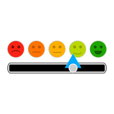 Credit mood indicator with smile face. Vector minimum and maximum loan, indebtedness information illustration